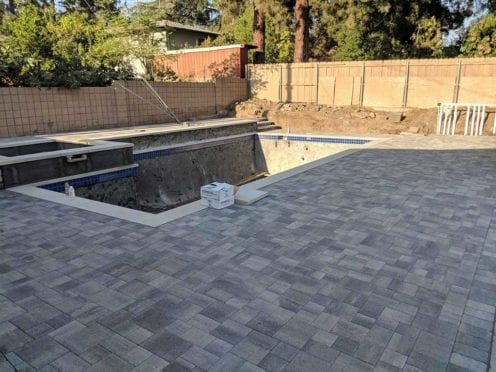 Angelus Gray Charcoal Pool Deck with Precast Pool Coping
