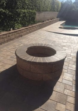 Circular Slump Stone Fire Pit with Mocha Bullnose