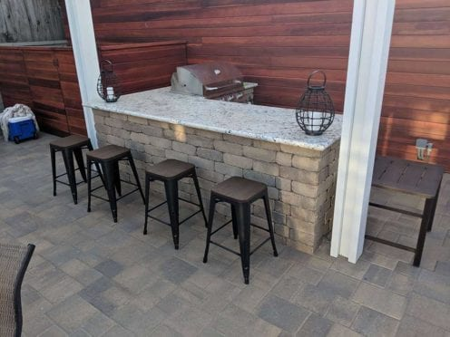 Custom Build L Shape Sand Stone Mocha BBQ and Granite Countertop
