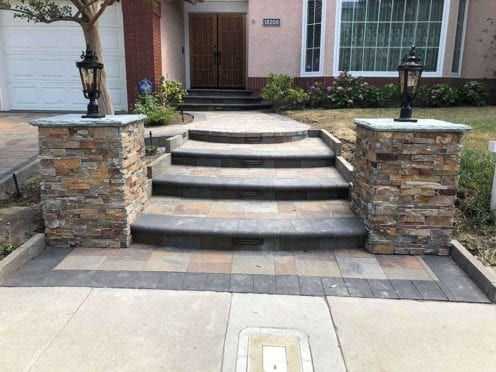 Steps: Custom Circular Steps with Charcoal Bullnose