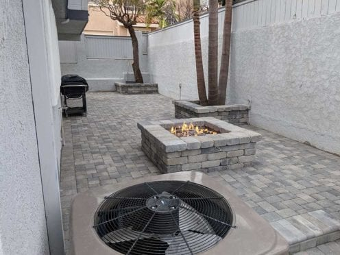 Custom Patio with Fire Pit and Matching Planters