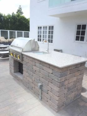 Custom Rectangular BBQ with Rustic Block Wall
