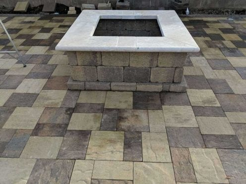 Custome Fire Pit with-Travertine Pavers