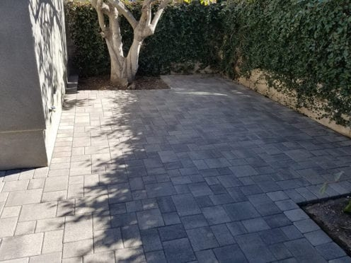 Gray Charcoal Pavers with Custom Planters