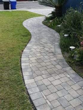 I Pattern Gray Charcoal Paver Walkway