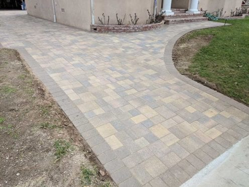 Paver Driveway in Sand Stone Mocha with Cream Brown Charcoal