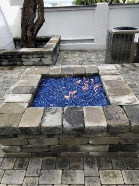 Rustic Block Square Fire Pit with Blue Fire Glass