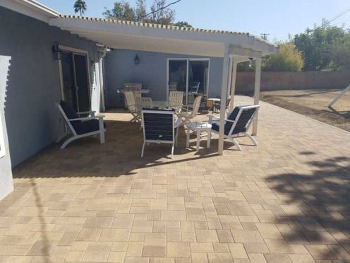 Angelus Sand Stone Mocha Pavers Patio with Mocha Border